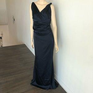 Talbot Runhof Ruched Navy Satin Mermaid Gown 8
